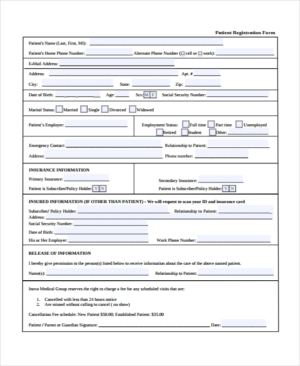Sample Patient Registration Form 8 Free Documents Download in – Patient Registration Form