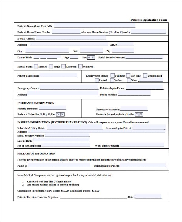 patient report form template download - sample patient registration form 8 free documents