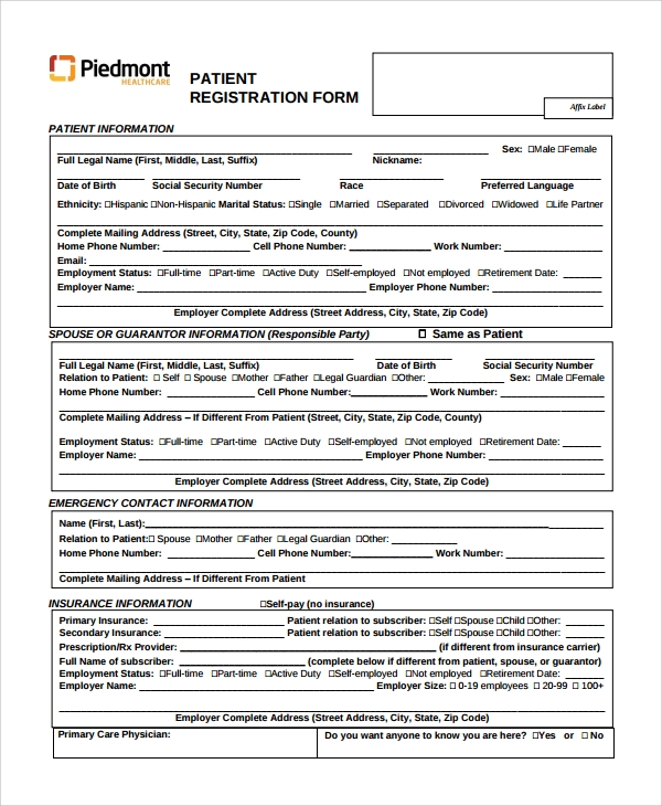 patient access registration form