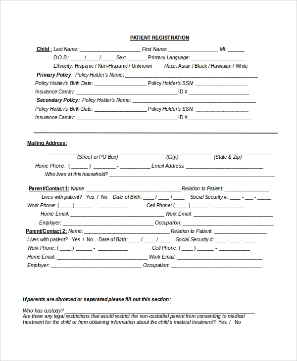 New Patient Registration Form Template Pictures to Pin on – Patient Registration Form