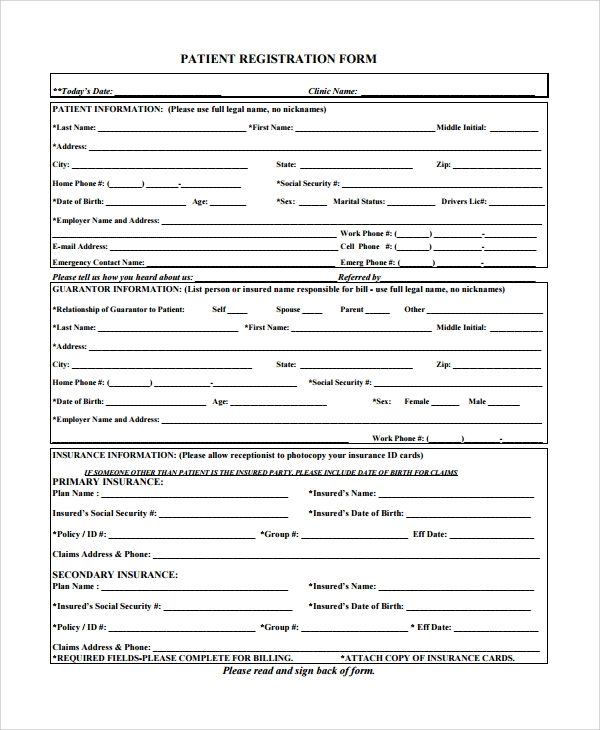 patient registration form pediatrics