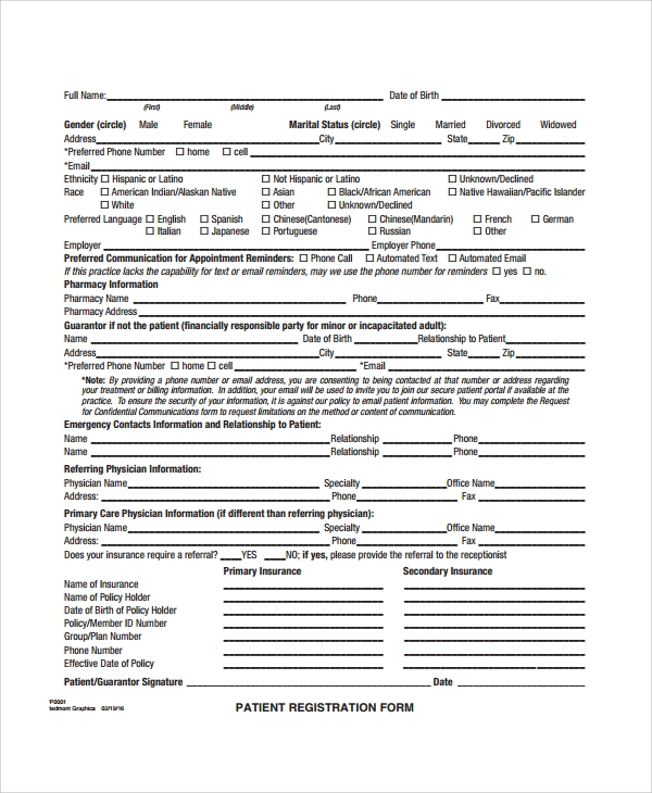 international patient registration form