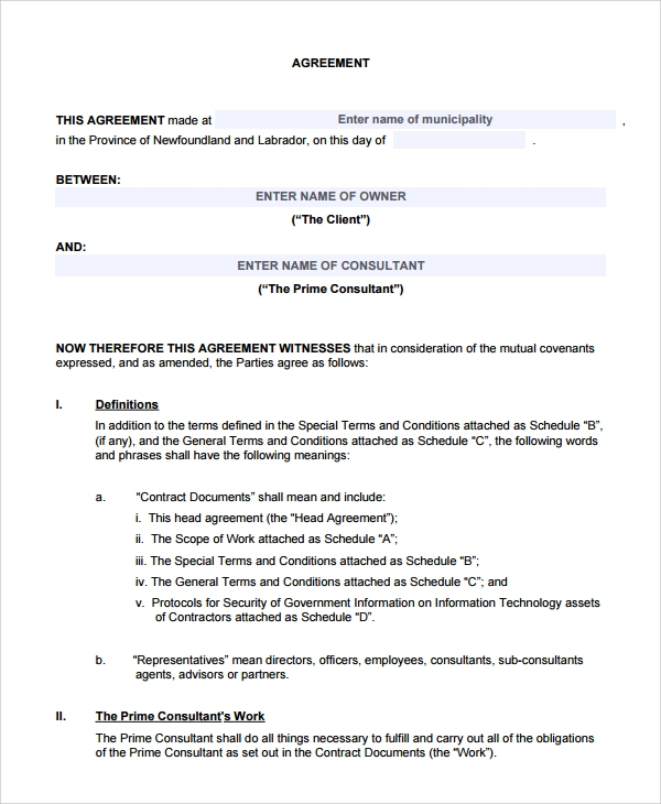 Sample Two Party Contract Template 9 Free Documents