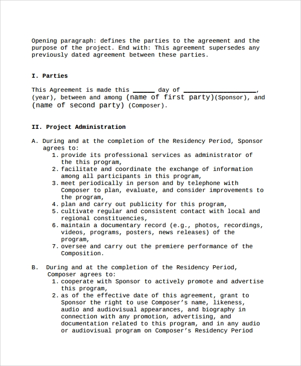 Sample Two Party Contract Template 9 Free Documents Download in – Project Contract Template