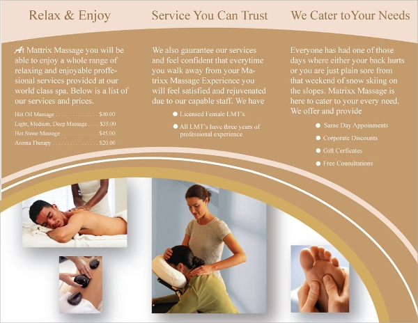 colorful massage brochure