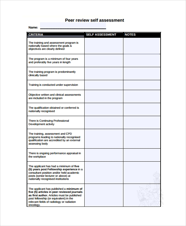 self assessment review template