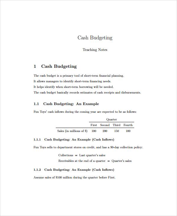 Cash Budget Template Free