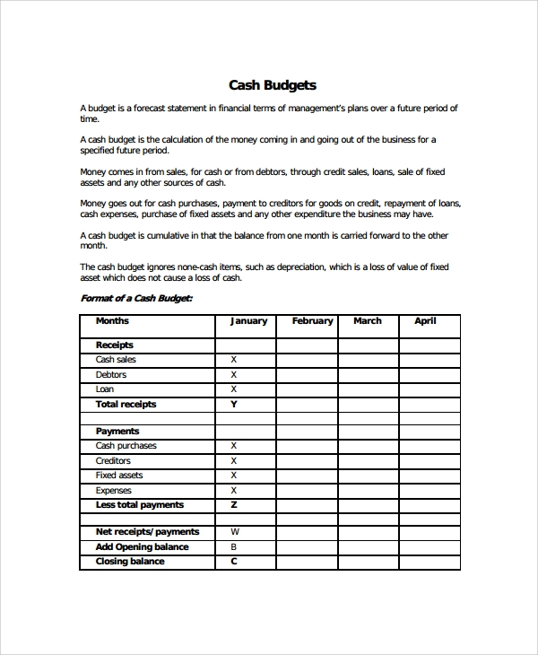 Sample Cash Budget Template -7+ Free Documents Download In Pdf, Excel