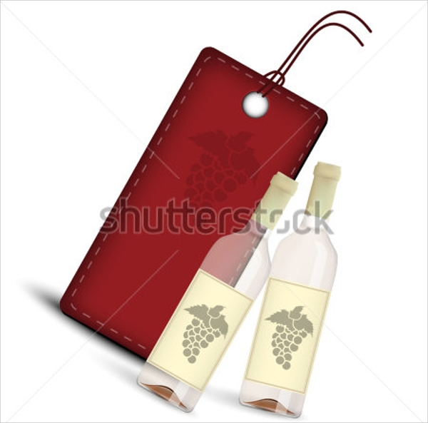 wine red tag template