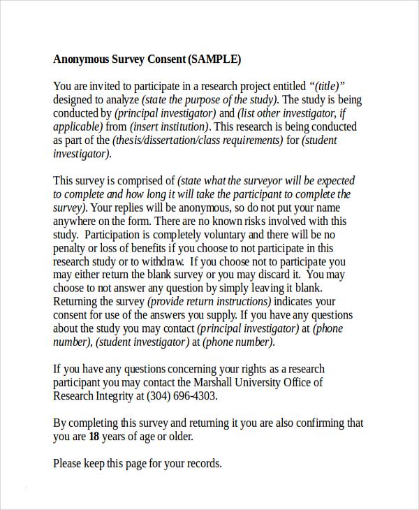 survey consent form template