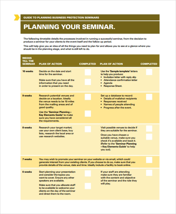 Sample Seminar Planning Templates   Free Documents Download In