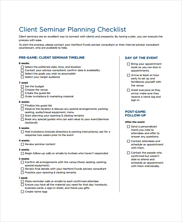 Sample Seminar Planning Templates - 7+ Free Documents Download In