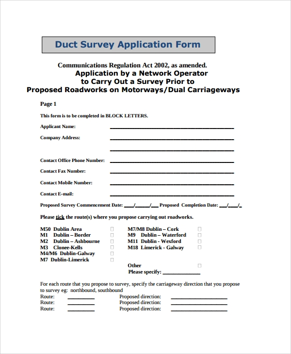 survey application form
