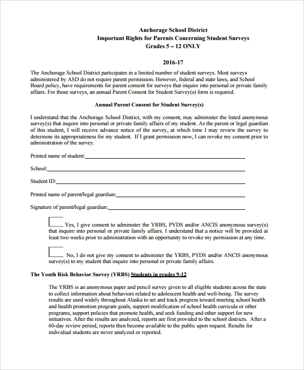 annual parent consent for student survey