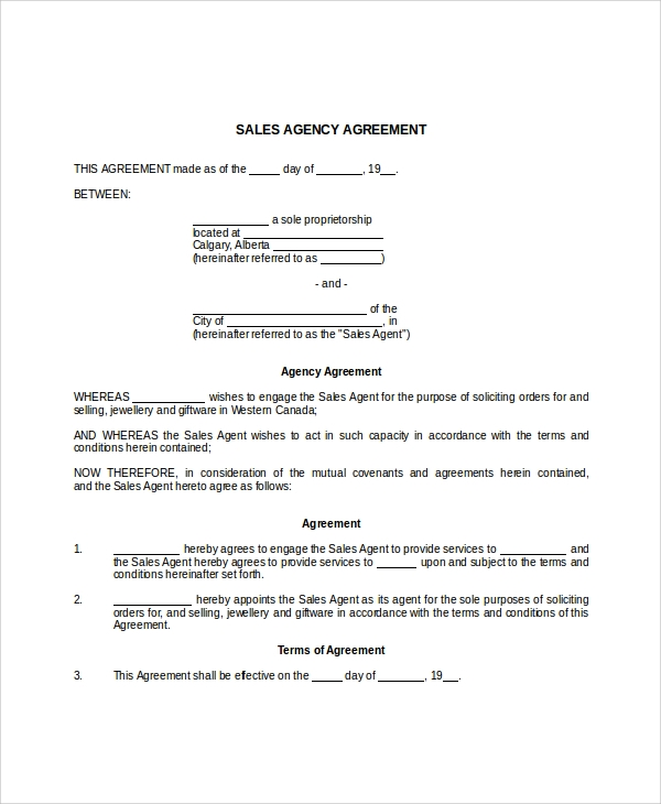 business sales agency agreement