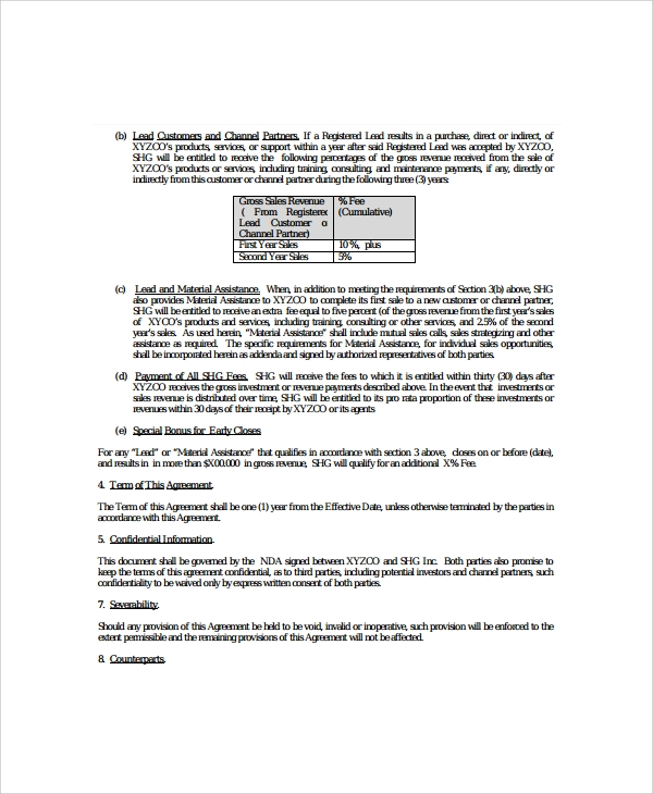 9 Business Agency Agreements Sample Templates