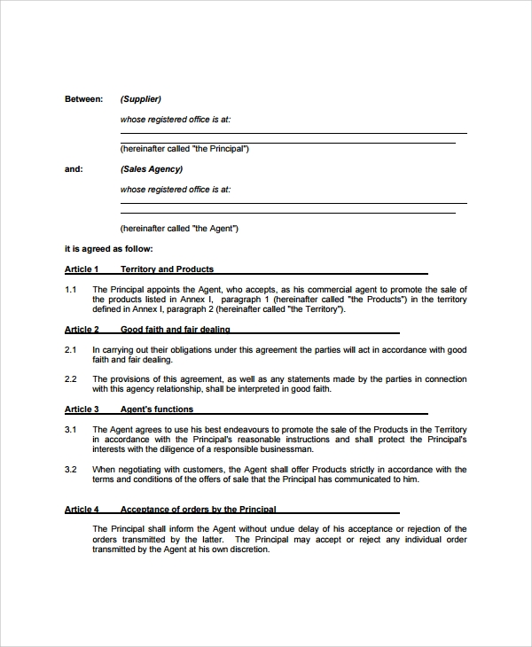 business agency agreement sample