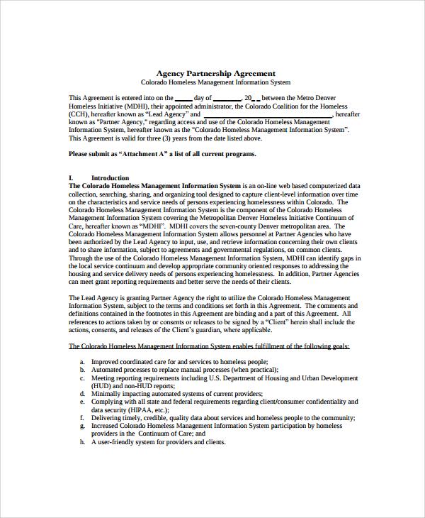 business agency partnership agreement