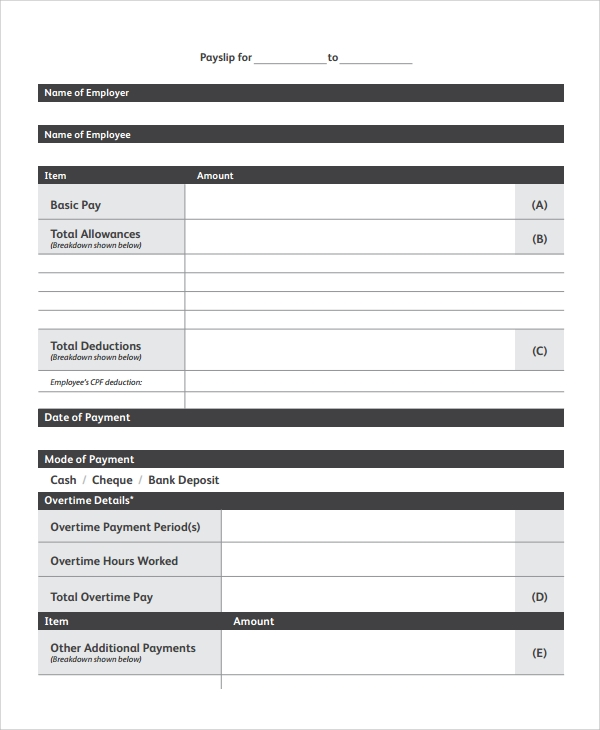 Doc603576 Word Payslip Template Payslip Template Format In – Payslip Template Free Download