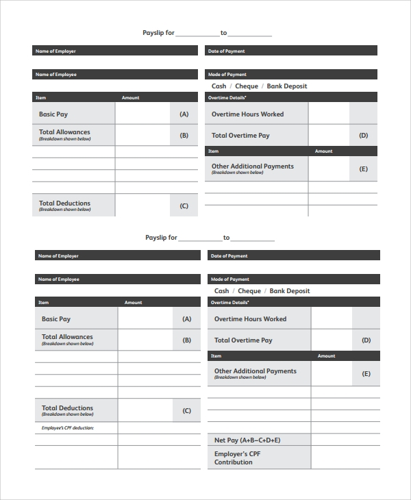 Sample Payslip Templates 8 Free Documents Download in PDF Word – Payslip Formats