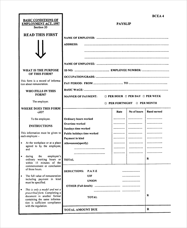 Pay Slip Templates Template Examples – Payslips Sample