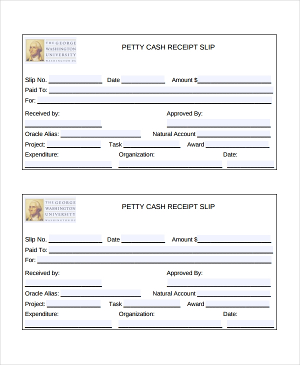 cash receipt payslip template