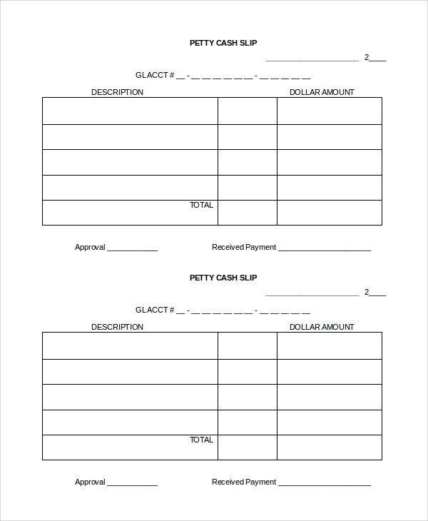 basic cash slip template
