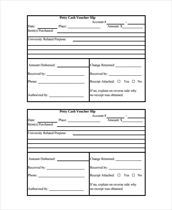 cash voucher slip template