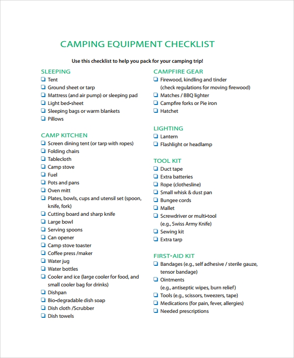 camping equipment checklist template