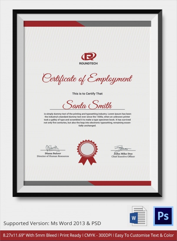 Sample Certificate 32 Documents in Word PDF PSD – Employment Certificate Sample