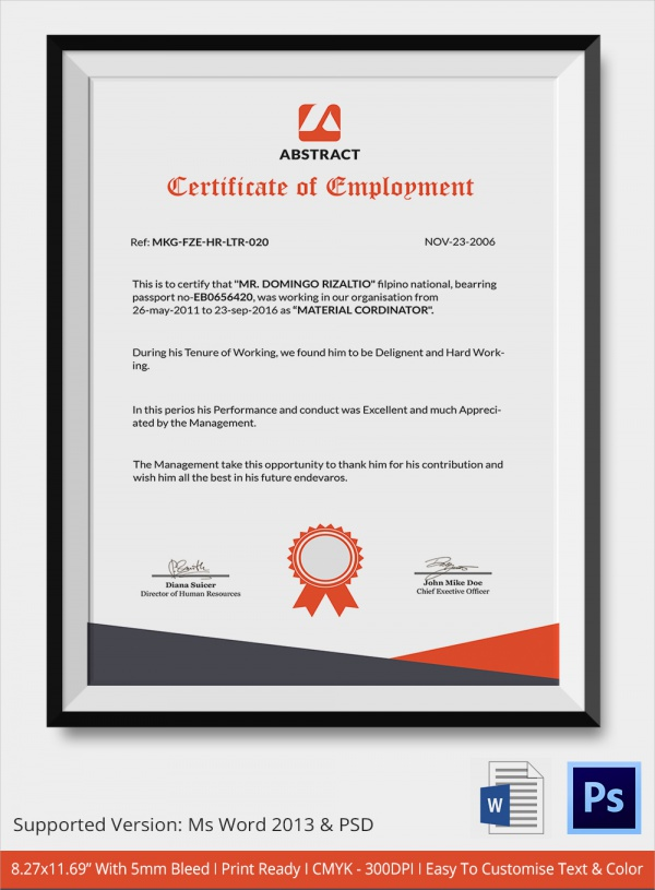Sample Certificate - 32+ Documents in Word, PDF, PSD