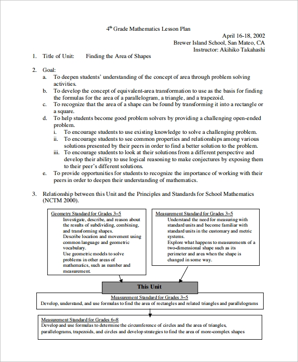 Sample Math Lesson Plan Template - 9+ Free Documents Download in PDF ...
