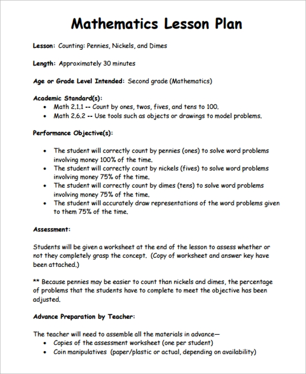 Sample Math Lesson Plan Template - 9+ Free Documents Download In