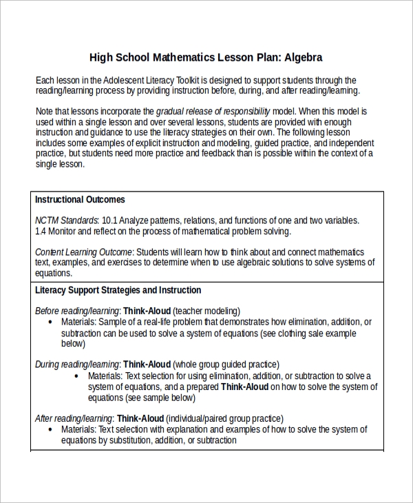 10 Math Lesson Plan Templates Sample Templates