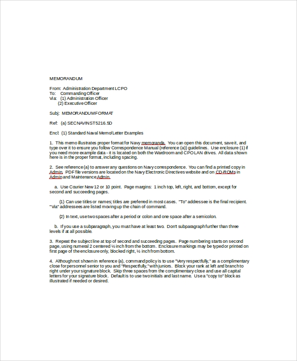 sample standard memo template 6 free documents download in word