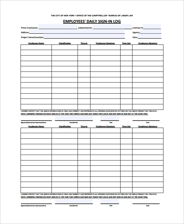 Sample Employee Sign In Sheet 15 Free Documents