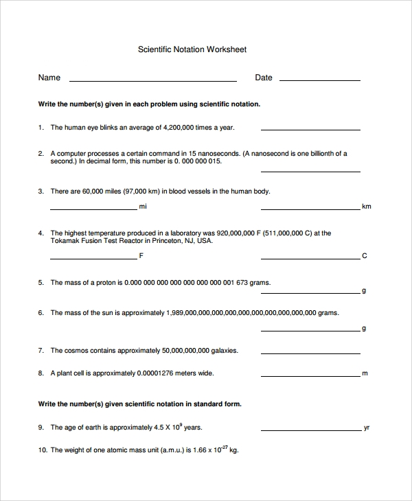 Printables Scientific Notation Worksheet Chemistry sample scientific notation worksheet 9 free documents download pdf