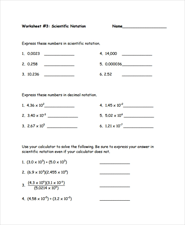 Sample Scientific Notation Worksheet 9 Free Documents Download – Multiplying and Dividing Scientific Notation Worksheets