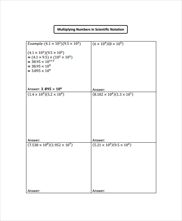 Sample Scientific Notation Worksheet 9 Free Documents Download – Operations with Scientific Notation Worksheet