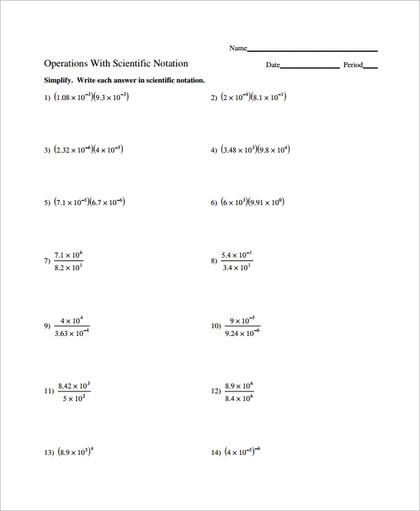 Sample Scientific Notation Worksheet - 9+ Free Documents ...