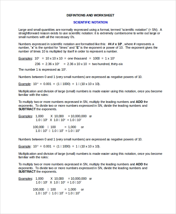 Scientific Notation Division Worksheet  Scientific Notation