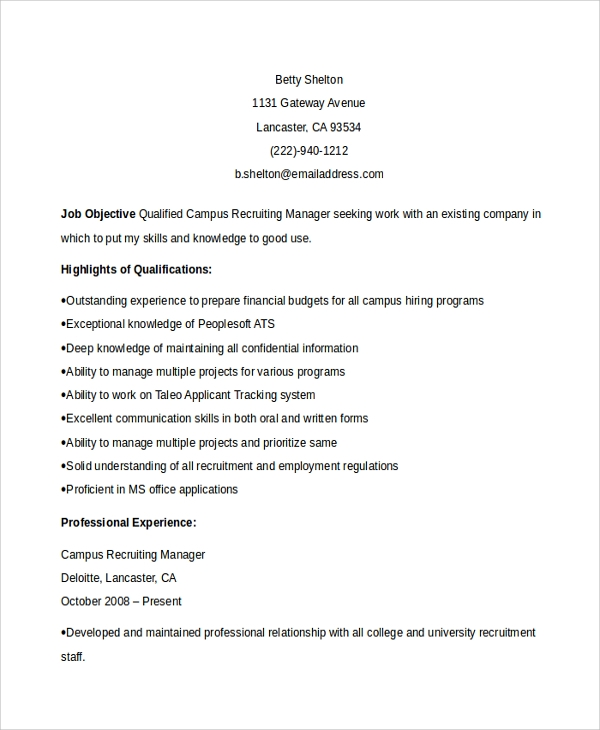 Sample Recruiting Manager Resume Template - 6+ Free Documents Download ...