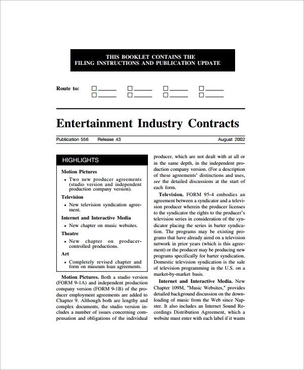 Sample Industry Contract Template   Free Documents Download In Pdf