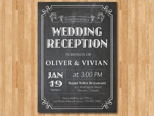 chalkboard reception invitation
