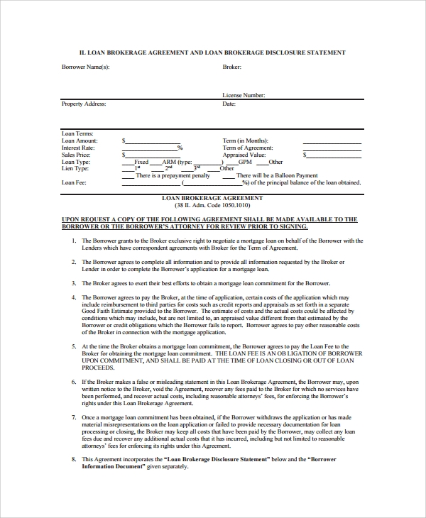 7 business loan agreement sample templates business loan broker agreement flashek Gallery