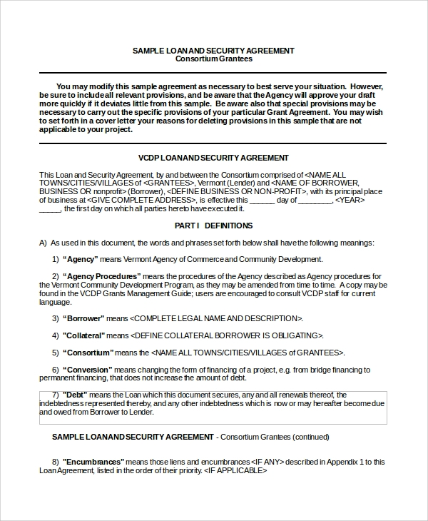 security company contract template - sample business loan agreement 6 free documents