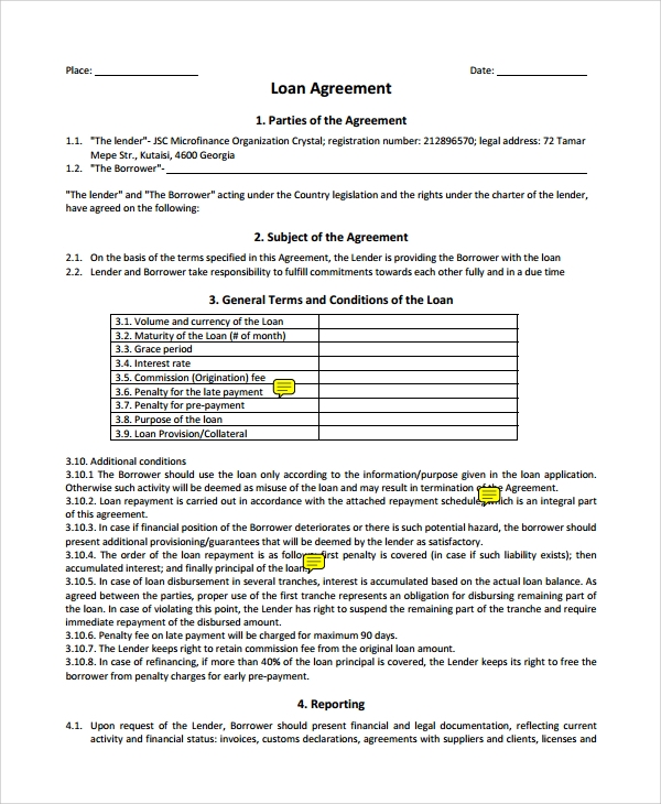 Sample Business Loan Agreement   Free Documents Download In