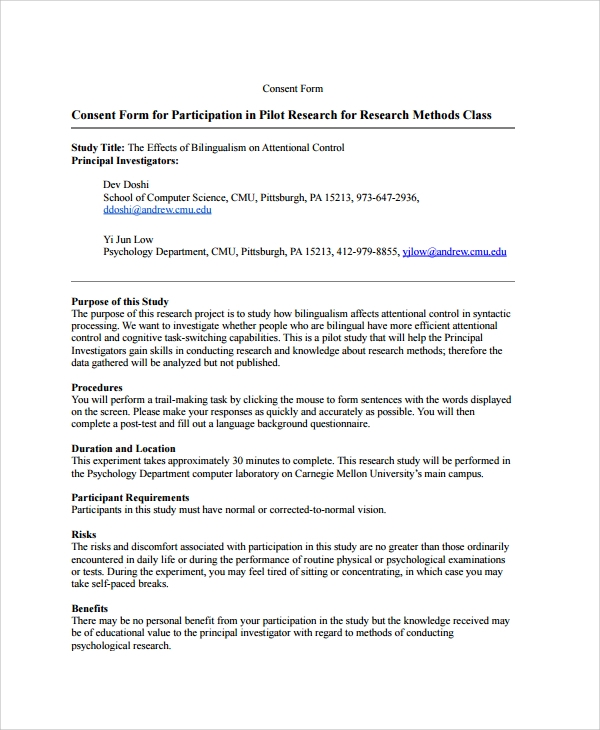 informed consent template for research - 28 images - record of ...