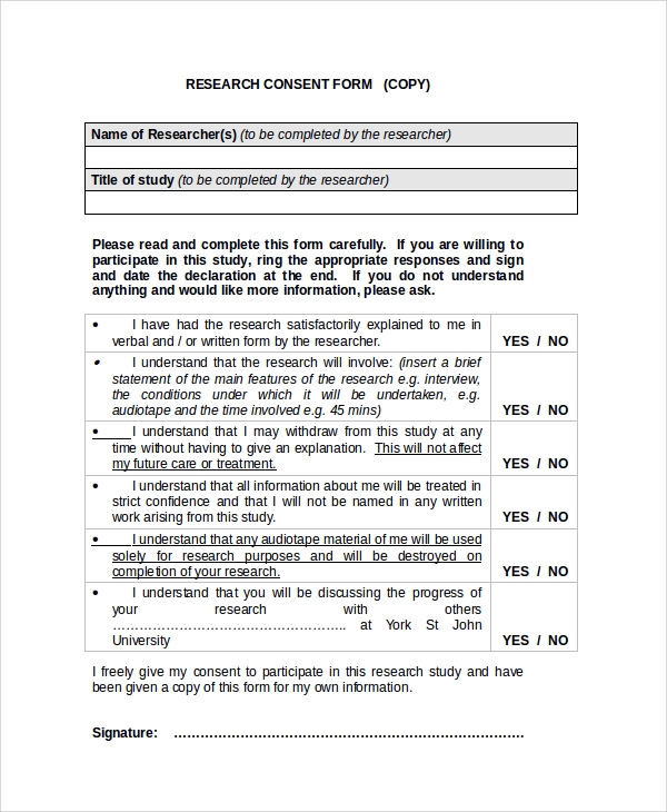 Sample Research Consent Form 8 Free Documents Download in PDF Word – Research Consent Form Template