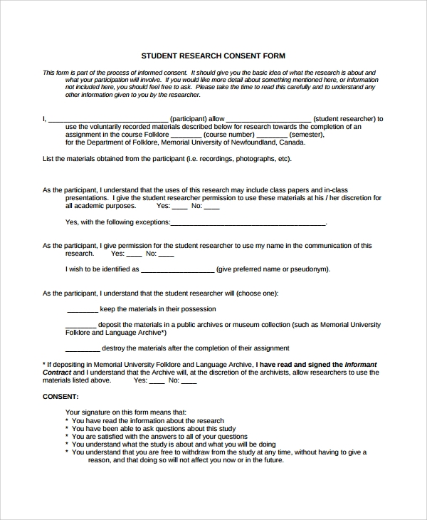 Sample Research Consent Form 8 Free Documents Download in PDF Word – Consent Form